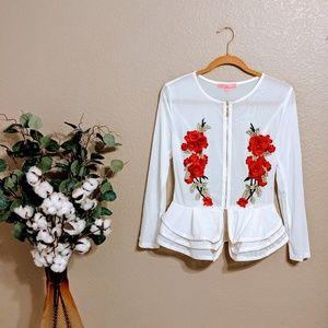 Xtaren White Mesh Jacket with Rose Decal Sz M